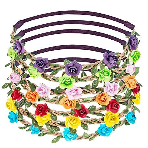 eBoot 7 Stück Rosen Blumen Stirnbänder Haarband für Frauen Mädchen Haarzubehör ( Mehrfarbig (Einfach Ideen Verkleiden)