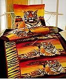 Leonado Vicenti 6 tlg. Bettwäsche 135 x 200 cm in orange/schwarz Tiger Sonnenuntergang aus Microfaser mit Reißverschluss Sparset mit Spannbettlaken -
