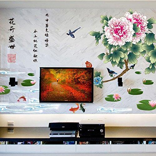 Weaeo Blumen-Blüten-Pfingstrosen-Wand-Aufkleber-Chinesische Art-Schlafzimmer-Studie-Wohnzimmer-Dekorations-Hintergrund-Wand-Aufkleber-Entfernbarer Aufkleber