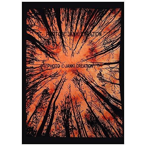 Janki Creation Multi Forest Design indischen Mandala Tapisserie Poser, Größe 40x 30, Room Decor Home Decor Mandla Baumwolle Boho Bohemian Baumwolle Poster, by Poster Hippie Hippie Wandbehang