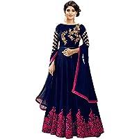 Shree Khodal Art Malbari Silk Blue SemiStitched Long Anarkali Gown(Original product)