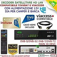 Ricevitore Decoder Tivusat HD 1080p compatibile con Tessera Gold Nuova Inclusa Da Attivare con Cavo HDMI incluso