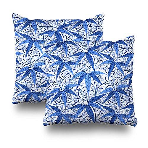 Suesoso Kissenbezug, 45,7 x 45,7 cm, beidseitig Bedruckt, Weiche Baumwolle, William Morris, Bambus, Kobaltblau/Weiß, 2 Stück