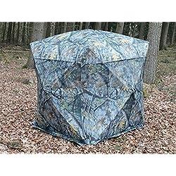 Tienda de Quick Up de camuflaje de bosque aspecto–140x 140cm, con ventanas grandes y moscas barandillas para 2personas