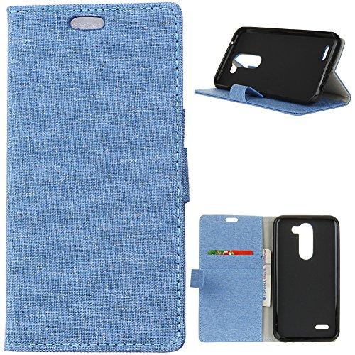 KM-WEN® Schutzhülle für LG X Mach K600 (5,5 Zoll) Bookstyle Retro Stil Sackleinen Muster Magnetverschluss PU Leder Wallet Case Flip Cover Hülle Tasche Schutzhülle mit Standfunktion Kartenfächer für LG X Mach K600 (5,5 Zoll) Blau