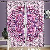 Mandala - Juego de 2 cortinas para ventana de mandala, para colgar cortinas, puertas, ventanas, divisores, 2 piezas, diseño de mandala, tamaño grande