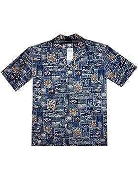 P.L.A. | Original Camicia Hawaiana | Signori | S - 4XL | Maniche Corte | Tasca Frontale | Hawaii Stampa | Tartarughe...