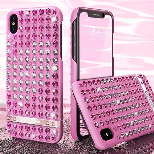 OCYCLONE iPhone XS Max Hülle für Mädchen, Liebesherz Muster Glitzer Bling Diamant Strass Luxus Schützhülle für Mädchen Frauen, Glitzer Handyhülle für iPhone XS Max - Rosa (Iphone Hülle 4 Bling Strass)