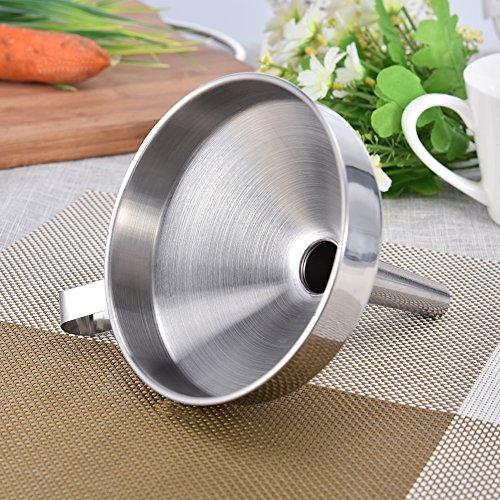 Edelstahl Trichter mit abnehmbarem Sieb Filter für Küche Kochen ätherischen Ölen und flask-filling Vorratsdosen F:24cm - 2