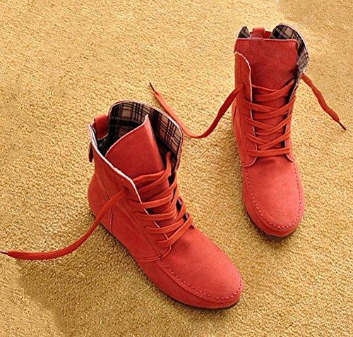 Minetom Inverno Moda Lace Up Boots Donne Scarpe Piatte Stivaletti Scarpe Fibbia Della Piattaforma Confortevole Martin Boots Anguria Rossa Cotone