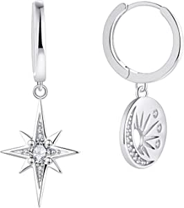 Qings Pendantes Boucles doreilles Cr/éoles avec Lune /étoile Argent 925 Moon Star Zirconium Boucles doreilles Pendantes pour Filles Femme
