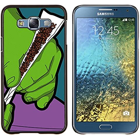 Cubierta protectora del caso de Shell Plástico    Samsung Galaxy E7 E700    Verde Humo de Tabaco Cannabis Arte Manos Pintura @XPTECH