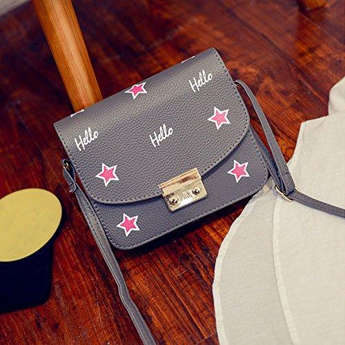 Longra Hobo delle donne di moda in pelle Borsa a tracolla Messenger borsa Grigio scuro