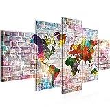 Bilder Weltkarte Steinwand Wandbild 200 x 100 cm Vlies - Leinwand Bild XXL Format Wandbilder Wohnzimmer Wohnung Deko Kunstdrucke Bunt 5 Teilig - MADE IN GERMANY - Fertig zum Aufhängen 106951a