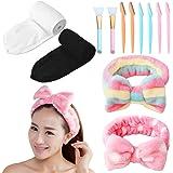 4 pezzi fascia per il viso trucco fascia da bagno fascia sportiva spugna asciugamano elasticizzato regolabile con nastro magi