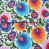 4L Textil Baumwollstoff uni 100% Stoffe Stoff Meterware Baumwolle 50 cm Retro (Bunte Blumen auf weiß)