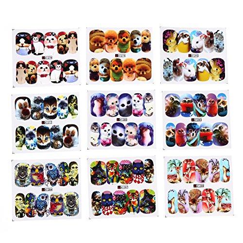 Zibuyu 24 Sheets Diy Decals Nail Art Water Transfer Printing Stickers Mix Pattern