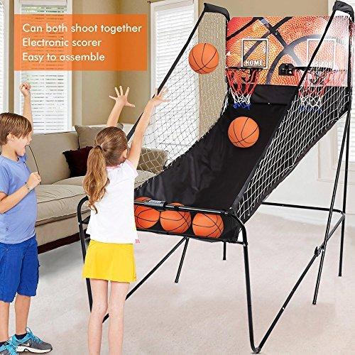 Basketballkorb, Doppel Basketball Arcade Spiel, Elektronische Automatische Score, Jungen Basketballständer für Indoor,Korbwurf Praxis Sport-111x200x207cm (Elektronische Basketball-arcade)