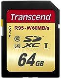 Transcend SDXC UHS-I U3 64GB Speicherkarte (95 MB/s Lesen, 60MB/s Schreiben)