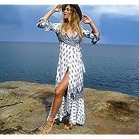 BXR Vestido de Playa Playa Vacaciones Vestido Boho Imprimir Manga Larga Vestido de Correa Ajustable (
