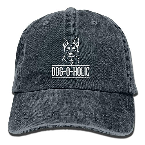 Wolanim Gifts for German Shepherd Dog Lovers Vintage Washed Dyed Cotton Twill Low Profile Adjustable Baseball Cap Black Navy -