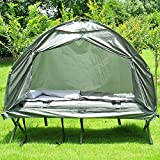 Outsunny 1 person Foldable Camping Tent w/ Sleeping Bag Air Mattress Outdoor Hiking Picnic Bed cot w/ Foot Pump