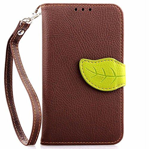 SATURCASE Nokia Lumia 630 635 Hülle, Einzigartige Blatt Magnetverschluss PU Leder Flip Brieftasche Standfunktion Handschlaufe Tasche Hülle Schutzhülle für Nokia Lumia 630 635 (Braun) (Nokia Lumia 635 Handy Fall)