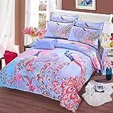 LUYR.R Baumwollpfau 4 Sätze 3D aktive Bettwäsche Bettwäsche Bettwäsche 1 Bettbezug 1 Flachbogen 2 Shams