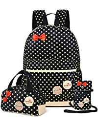 ce1f8c0caca4 School Backpacks for Kids Girls Cute Dot 3 Sets Kids Book Bag School  Backpack Handbag Purse