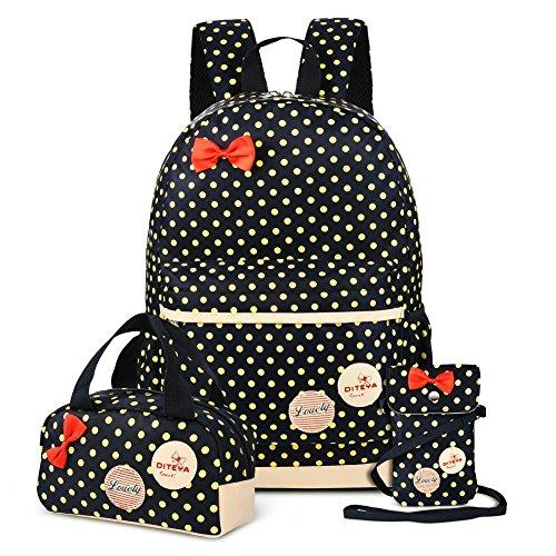 Mädchen Schulrucksack Kinder Daypack Mädchen Backpack für Schule und Freizeit 3-In-1 Schulrucksack (Schwarz)