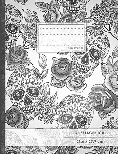 """Reisetagebuch: DIN A4, """"Totenköpfe"""", 70+ Seiten, Soft Cover, Register, Reisecheckliste • Original #GoodMemos Travel Journal • Reisenotizbuch zum Selberschreiben por GoodMemos Reise-Abschiedsgeschenke"""