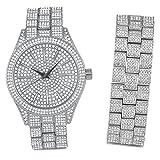 Full Iced Out Bling Uhr Armband Set - Silber
