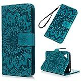 Sony Xperia X Hülle, PU Leder Flip Wallet Cover in Book Style Stand Case Card Slot Leder Tasche Case Handyhülle TPU Innen Karteneinschub und Magnetverschluß Kratzfestes Blau Sonnenblume und Schmutzunempfindliches für Sony Xperia X