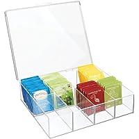 mDesign boîte de rangement à 8 compartiments – organiseur de cuisine en plastique pour thé, épices, etc. – boîte à thé…