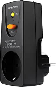 Oaonan Fi Schutzschalter Steckdose Von Fi Stecker 16 Amp Für Haushalt Geräte Und Werkzeuge Schwarz Baumarkt