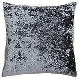 "Riva Paoletti Verona Cushion Cover Square - Pewter Grey - Velvet Feel - Crushed Velvet Look - Hidden Zip Design - 100% Polyester - 55 x 55cm (22"" x 22"" inches) - Designed in the UK"