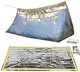 Semptec Urban Survival Technology Unisex– Erwachsene NC-1068 Notzelt: Survival-Set mit Notfall-Zelt und Folien-Schlafsack (Rettungssack), Silber, 210 x 90 cm
