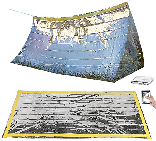 Semptec Urban Survival Technology Unisex- Erwachsene NC-1068 Notzelt: Survival-Set mit Notfall-Zelt und Folien-Schlafsack (Rettungssack), Silber, 210 x 90 cm -