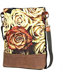Flower Pring Leather And Canvas Tote Shoulder Bag Stylish Shopping Casual Bag Foldaway Travel Bag