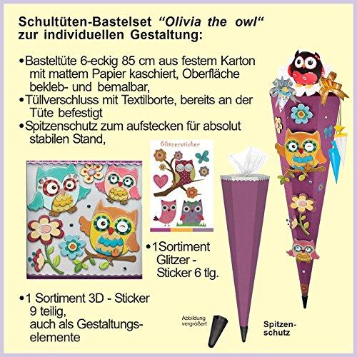 Olivia the Owl Eule Schultüte 85cm 3D-SCHNELL BASTELTÜTE vorgefertigt stabiler Tütenkorpus pass. zum Schulranzen Olivia SPAREN IM SET ! GEBEN SIE Art-Nr.: B01GK1XTAU IN AMAZONSUCHE EIN! - 2