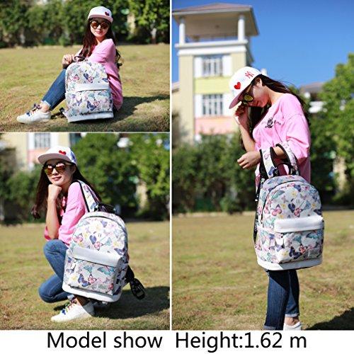 Mocha weir JIAYBL Laptop Taschen Schultern Kinder Schultaschen Rucksack Hochschule Mädchen Canvas Pack reisen (Gelb Kleiner Pfeffer) Schmetterling