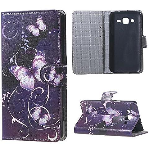 Samsung Galaxy J3 Housse - Coque en Cuir Portefeuille Housse Étui à Rabat Case pour Samsung Galaxy J3 2016 Coque Bookstyle Cover Protection (Papillon violet)