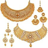 #4: Apara Sparkling Gold Plated Necklace Jewellery Set Combo for Women
