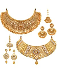 Apara Sparkling Gold Plated Necklace Jewellery Set Combo for Women