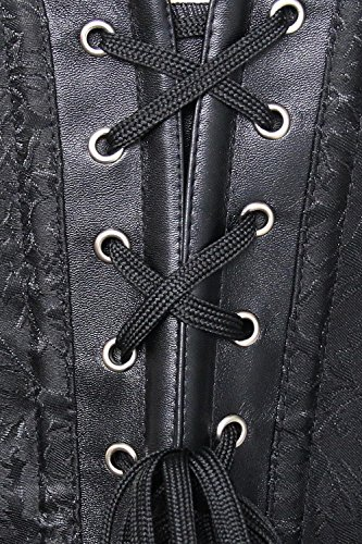 Kimring Women's Steampunk Vintage PU Leather Jacquard Spiral Steel Boned Corset Nero