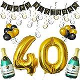 """BELLE VOUS Happy Birthday Luftballons Banner Dekoration Set zum 40. Geburtstag Umfasst Aufblasbare Champagnerflaschen, 101,6cm Gold Nummer """"40"""" Ballons - Dekoratives Party Zubehör Deko Set"""