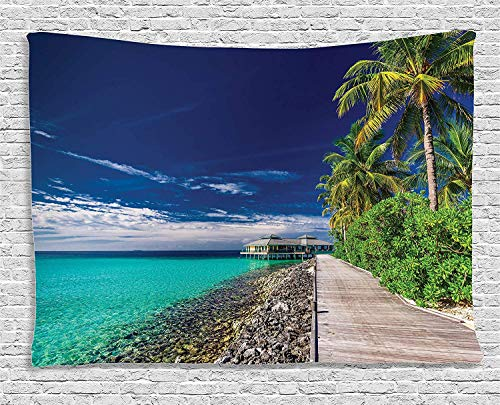 VTXWL Ocean Decor Tapestry, A Wooden Boardwalk at The Beach Under Palm Trees in Dark Sky Hawaiian Paradise Scene, Wall Hanging for Bedroom Living Room Dorm, 80 W X 60 L Inches, Turquoise Green