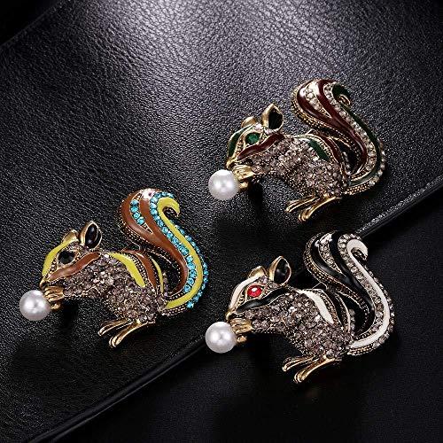 JXtong2 Spilla Spille Scoiattolo per Donna Moda Animale Strass Pin Lady Corsage ParBirthday Regalo Gioielli Cappotto Ornamento...
