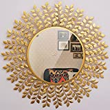 Furnish Craft Beautiful Leaf Large Mirror for Wall (32 x 32 inch, Golden)