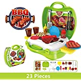 Grab Offers Kids Pretend Play BBQ Playset, Leagway Simulation Barbecue Grill Tools Kitchen Gourmet Food Role Paly Set, 23Pcs/Set In Portable Travel Suitcase Cooking Toy Kit For Kids Boys Girls Toddler (Barbecue)